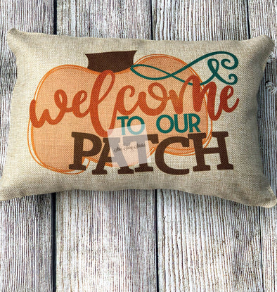 Welcome to Our Patch Burlap Pumpkin Pillow