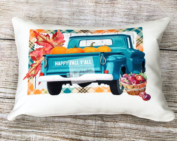 Fall Pillow Cover Vintage Turquoise Truck Pumpkins, Apples with Plaid border
