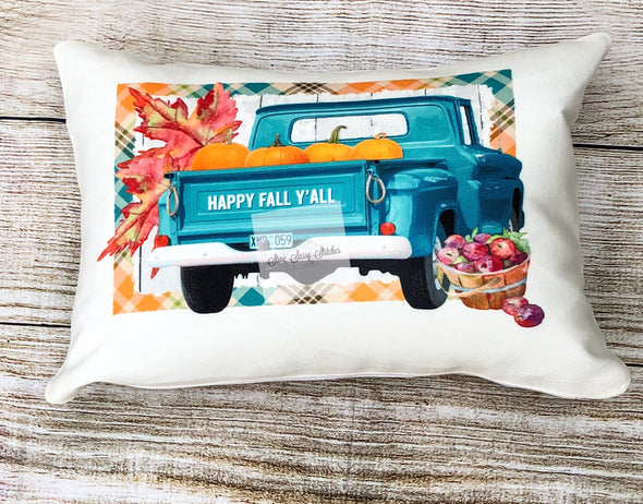 Fall Pillow Vintage Turquoise Truck With Pumpkins