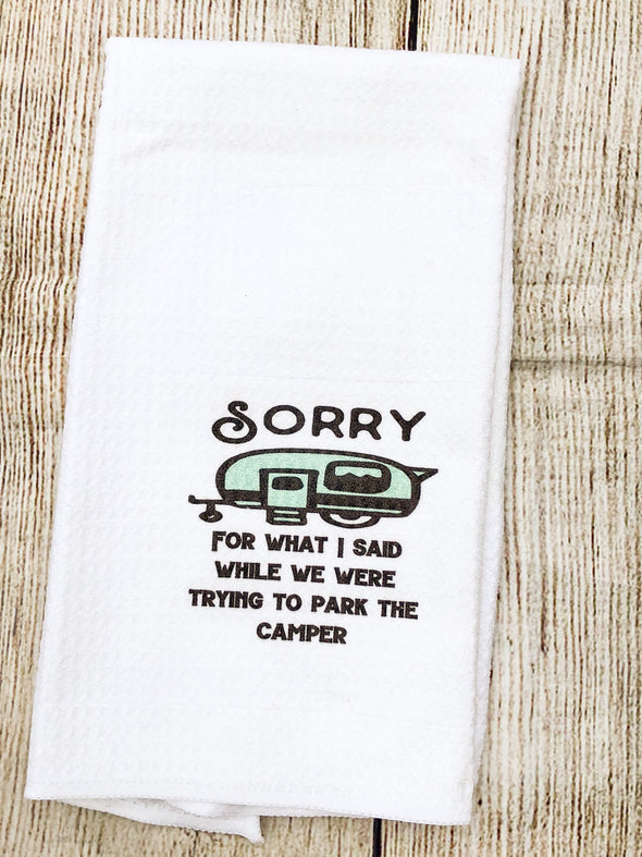 Camper Kitchen waffle weave Tea Towel Sorry Camper Camping Decor Personalize
