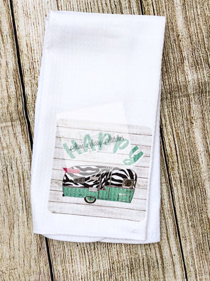 Happy Camper Waffle Weave Kitchen Tea Towel with zebra accents