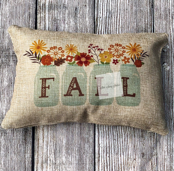 Fall Pillow Cover Home Decor Mason Jar Floral design White Canvas or Burlap