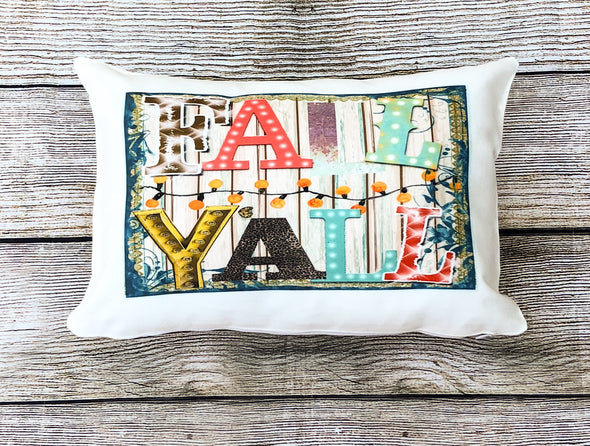 Fall Y'all Junky Shiplap Pillow Cover White Canvas