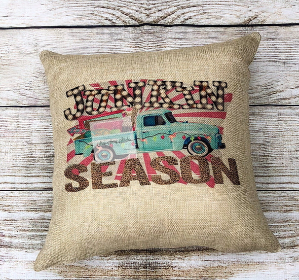 Junkin Season Burlap Pillow Cover Vintage Truck with Marquee letters