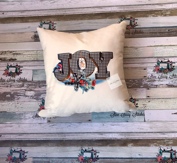 Joy White Buffalo Plaid Christmas Pillow