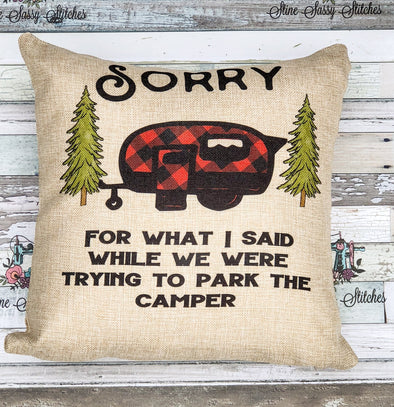 Camping Pillow Buffalo Plaid Camper or Travel Trailer  Burlap Sorry for What I Said