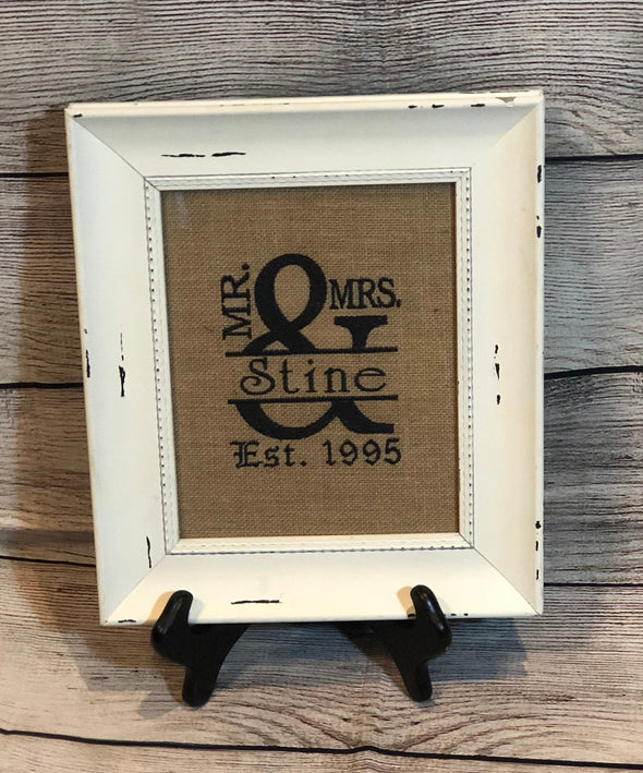 Wedding Gift Mr & Mrs Monogram Split Embroidery personalized