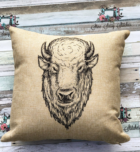 Bison Pillow Buffalo Pillow Boho Pillow Throw Pillow Faux Burlap