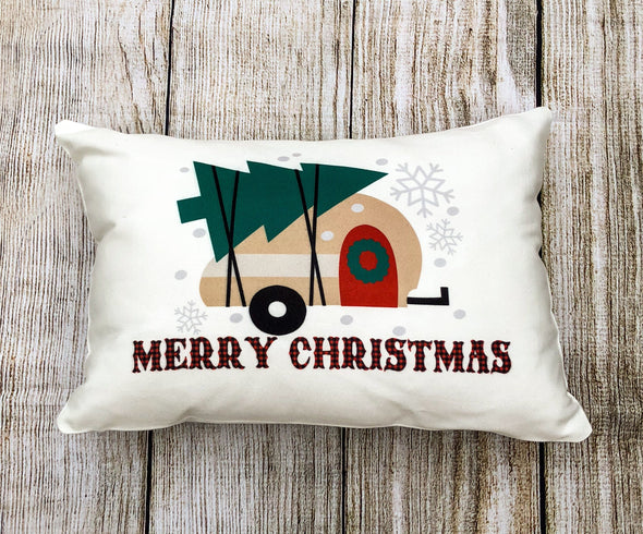 Merry Christmas Camper Pillow Buffalo Plaid Pillow Cover