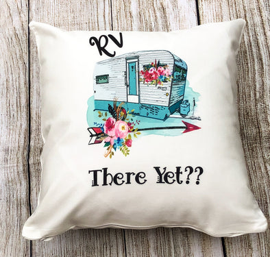 RV There Yet Camper Throw Pillow