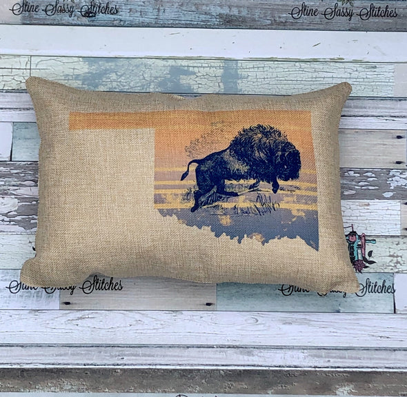 Where the Buffalo Roam Oklahoma Pillow