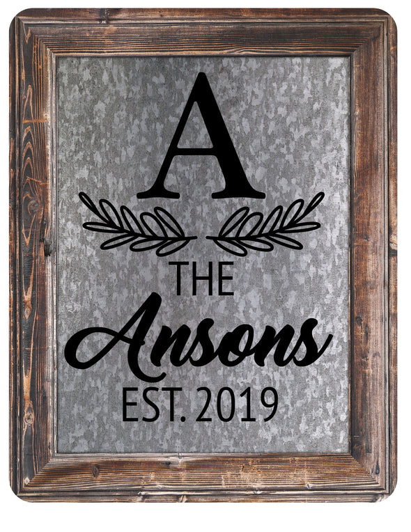 Custom Family Name Sign Galvanized Wood