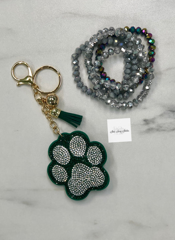 Green Rhinestone Paw Key Chain
