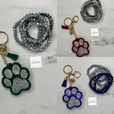 Blue or Green Rhinestone Paw Key Chain