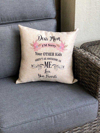 Mom's favorite Burlap Pillow