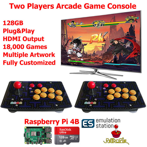Two Players Retro Arcade Game Console Joystick Fight Stick 128G Raspberry PI 4