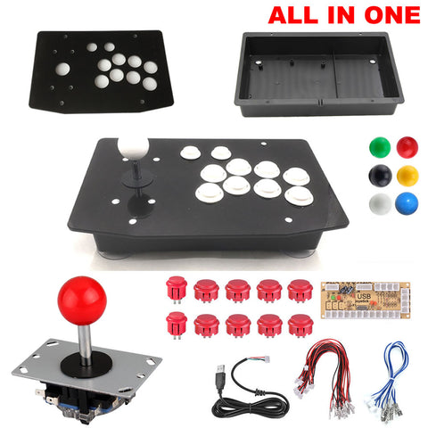 DIY Arcade Joystick Kits All In On 2Pin Cable 10 Buttons PC Joystick Unassembled