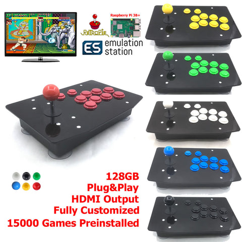 Raspberry Pi 3B+ Arcade Fighting Stick Retro Game Console All In One 128G