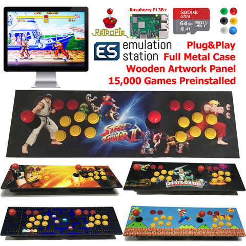 TableTop Arcade Retro Game Console Raspberry Pi 3B+ Wooden Panel Metal Case 64G