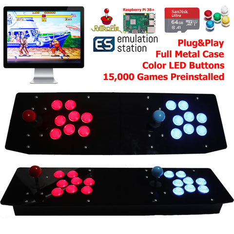 TableTop Arcade Retro Game Console Raspberry Pi 3B+ LED Buttons Metal Case 64G