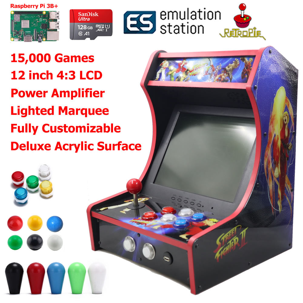 Mini Bartop Arcade Game Machine Cabinet Raspberry Pi B+ 128GB