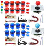 2 Players Pc Game Usb Controller Led Push Buttons Cables Diy Arcade Joystick Kit