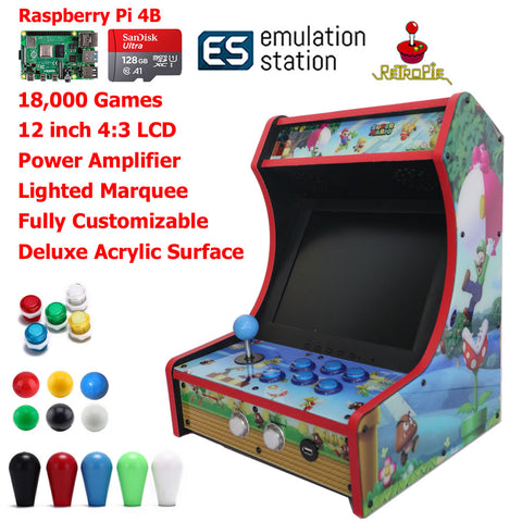 Mini Bartop Arcade Game Machine Raspberry PI 4 Model B 4GB 128G Super Mario