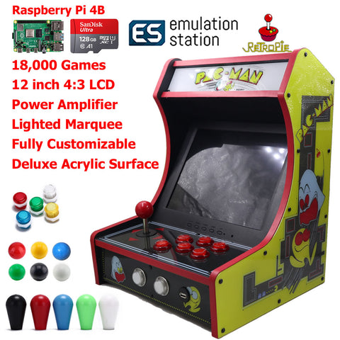 Mini Bartop Arcade Game Machine Raspberry PI 4 Model B 4GB 128G PAC-Man