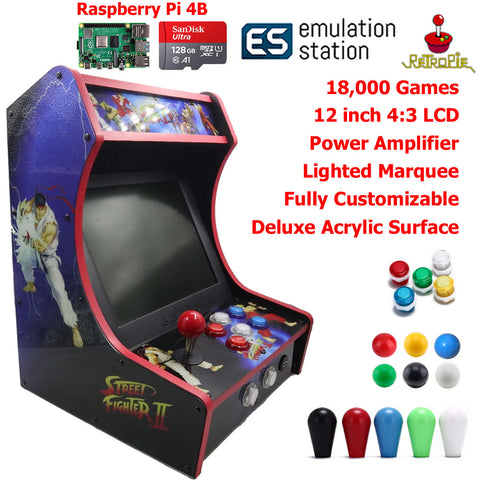 Mini Bartop Arcade Game Machine Raspberry PI 4 Model B 4GB 128G Street Fighter