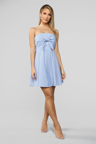 Striped Tie Front Dress - Blue/White