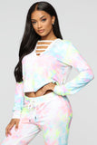 Lounge Long Sleeve Top - Pink/Multi