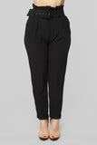Let's Link Belted Pants - Black