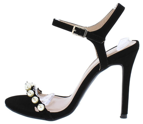 Black Pearl Stud Open Toe Stiletto Heel