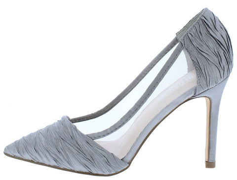 Grey Mesh Textured Pointed Stilettos
