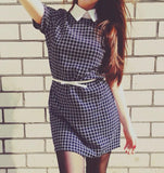 Casual Plaid Dress With Cute Collar