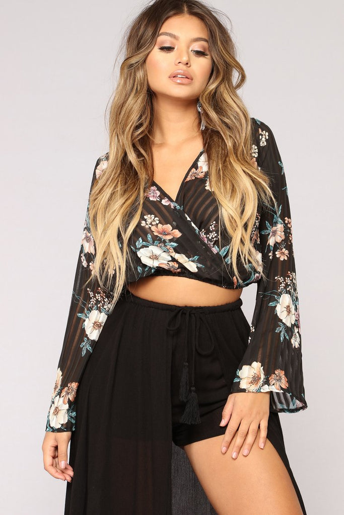 c85a305e3af Floral Surplice Top with Long Sleeves-Black Combo – stubbornfashion