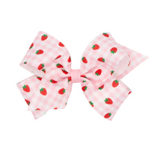 Load image into Gallery viewer, Gingham Fruit Hairbows (Lemon & Strawberry)