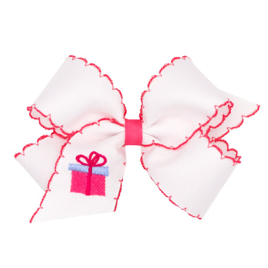 Present Embroidered Hairbow