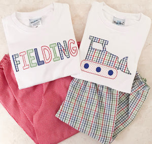 Bean Stitch Applique Name Shirt