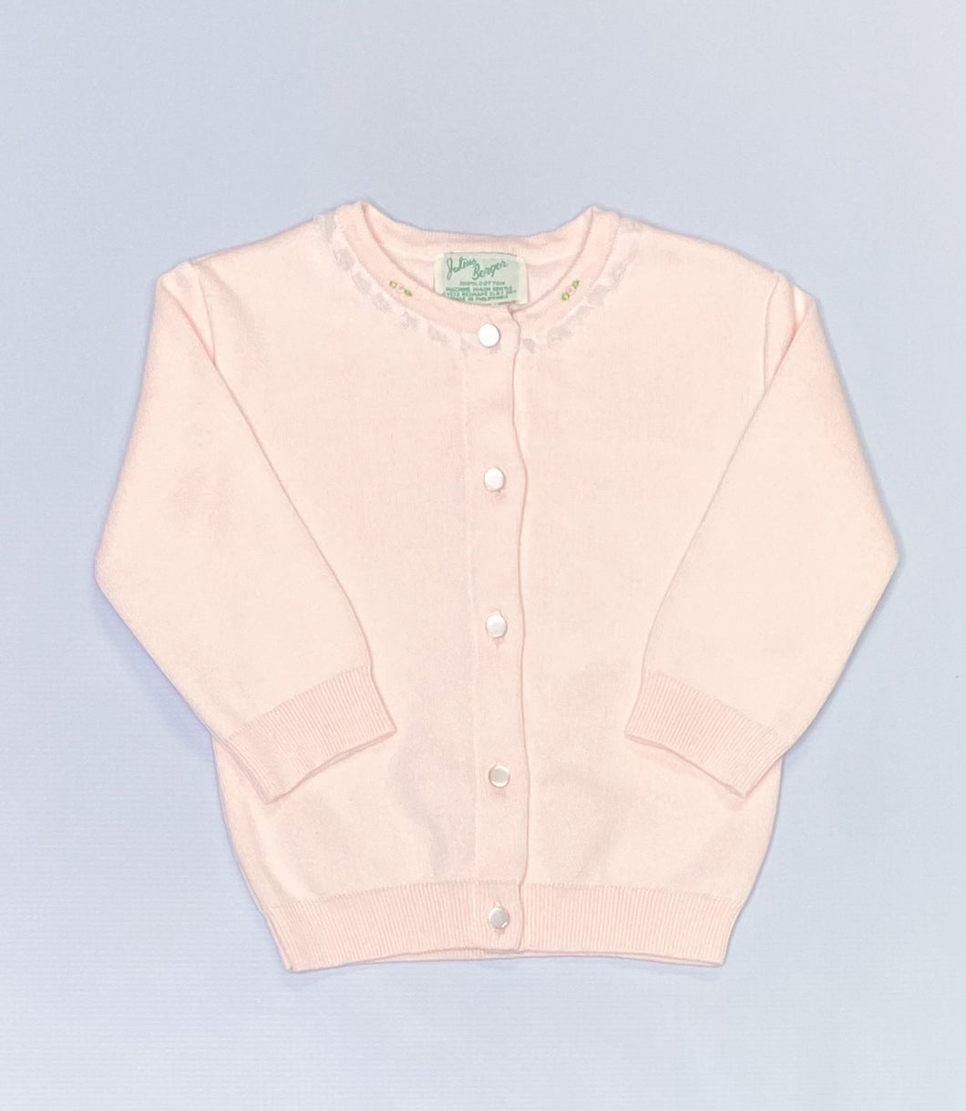Pink Cardigan with Lace and Rosebuds by Julius Berger
