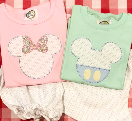 Girls Pastel Mouse Head Applique Shirt (Short Sleeve)