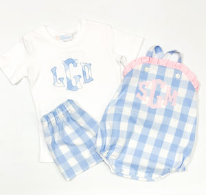 Fishtail Monogram Shorts Set (Light Blue XL Check)