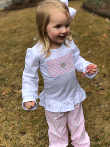 Girl's Valentine's Envelope Applique Shirt