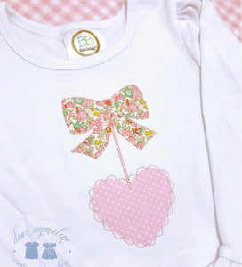Valentine's Bow and Scalloped Heart Applique Shirt