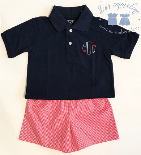 Boys Patriotic Monogram Polo