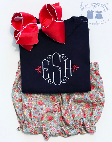 Girls Patriotic Monogram Shirt