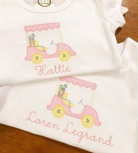 Girls Vintage Golf Cart Applique Shirt