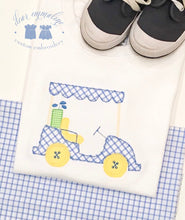 Load image into Gallery viewer, Boys Windowpane Golf Cart Applique Shirt