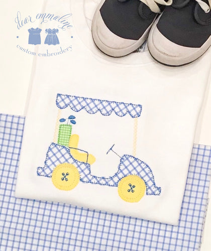 Boys Windowpane Golf Cart Applique Shirt