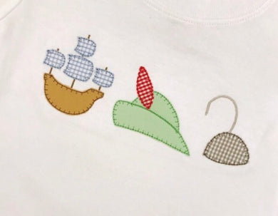 Pirate Ship, Hat, and Hook Row Applique Shirt